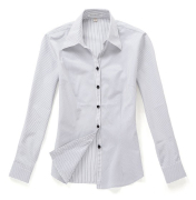 佐馬仕女式白底黑條職業襯衫VG01-306