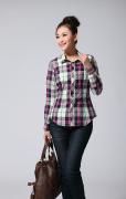 佐马仕女士全棉格子长袖衬衫JD121029