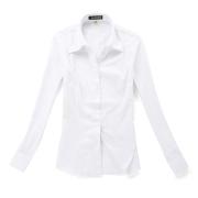 VG1002女士職業裝白底藍條長袖襯衫