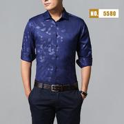 2018佐马仕新款男士棉麻印花长袖衬衫M85580