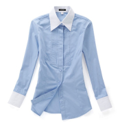 佐馬仕女式藍色拼接職業襯衫VG01-501