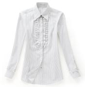 佐馬仕女式白底黑條花邊職業襯衫VG01-601