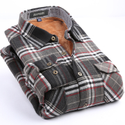 佐馬仕法蘭絨棉衣外套 黑灰紅格7081