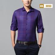 2018佐马仕新款男士棉麻印花长袖衬衫M86853