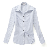 佐馬仕女式白底藍條職業襯衫VG01-305