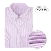 2019佐馬仕新款女式V領紫色條紋短袖襯衫DV2673