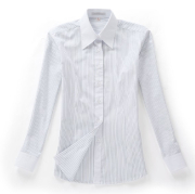 佐马仕女式白底蓝条拼接职业衬衫VG01-502