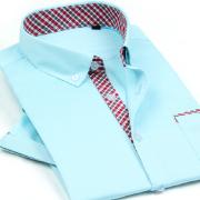 2014佐马仕男士新款纯棉拼接撞色职业装短袖衬衫D121C